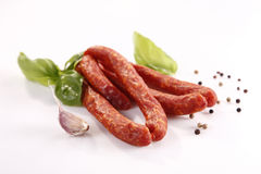 Frankfurters. Tasty smoked thin frankfurters with spices Royalty Free Stock Photography