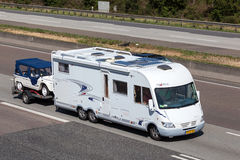 Frankia Luxury Class mobile home with a trailer Stock Photos