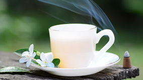 Frankincense burning with hot tea Stock Images