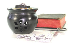 Frankincense with incense censer and Bible Stock Images