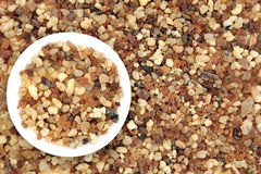 Frankincense and Myrrh. In a porcelain bowl and background Royalty Free Stock Photography