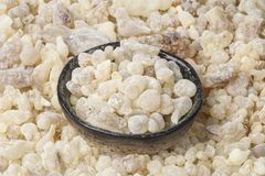 Frankincense resin. Frankincense background. Frankincense Boswellia sacra is an aromatic resin, used for religious rites, incense and perfumes Stock Image