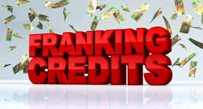Franking Credits Tax with Australian Shares. Franking Credits text with Australian bank notes falling down. 3D Rendering stock illustration