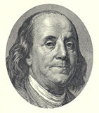 Franklin 100 dollar. Benjamin Franklin as depicted on US one hundred dollar bill stock illustration