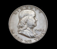 Franklin 1948. A closeup of a 1948 minted United States Franklin half dollar Royalty Free Stock Photo