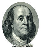 Franklin Benjamin portrait cutout (Clipping path). Portrait of U.S. statesman, inventor, and diplomat Benjamin Franklin as he looks on one hundred dollar bill vector illustration