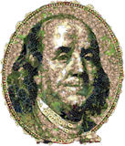 Franklin Benjamin portrait cutout. Vegetables. Vegetables portrait of U.S. statesman, inventor, and diplomat Benjamin Franklin stock illustration