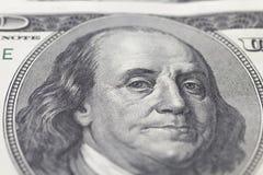 Franklin Benjamin portret na dolarowym rachunku Obrazy Royalty Free