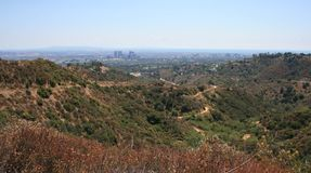 Franklin Canyon Panorama. View of Hollywood, L.A. and the Pacific Ocean Stock Photos