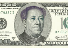 Franklin converteu a Mao na nota de dólar 100 Foto de Stock