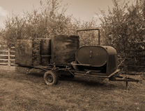 Franklin County Moonshine Still. Ferrum, Virginia USA – October 22nd: An exhibit of a Franklin County moonshine still on a mobile trailer at the Blue royalty free stock photos