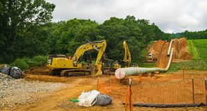 Mountain Valley Pipeline Laying a Gas Pipeline - 2. Franklin County, Virginia USA – July 21th: Mountain Valley Pipeline MVP laying a gas pipeline through stock photography
