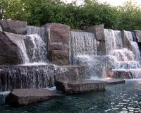 Franklin Delano Roosevelt Memorial. Waterfall at the FDR memorial Stock Images