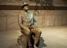 FDR memorial statue - Washington D.C. The Franklin Delano Roosevelt Memorial honoring the 32nd U.S. president 1933–45 is in Washington, D.C. This bronze Stock Photography
