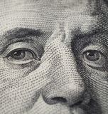 Franklin eyes on one hundred dollar bill royalty free stock photos
