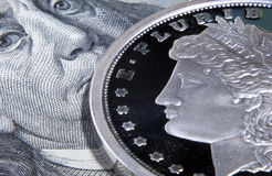 Franklin  face and liberty head Royalty Free Stock Photo