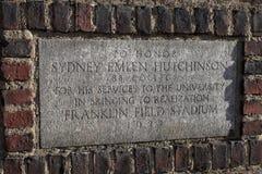 Franklin Field Stadium marker in brick royalty free stock photo