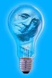 Franklin-Gesicht und Glühlampe Stockfoto