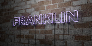 FRANKLIN - Glowing Neon Sign on stonework wall - 3D rendered royalty free stock illustration. Can be used for online banner ads and direct mailers royalty free illustration