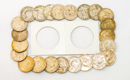 Franklin Half Dollars and Plastic Coin Holder Royalty Free Stock Image