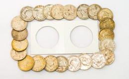 Franklin Half Dollars- und Plastikmünzen-Halter Lizenzfreies Stockbild