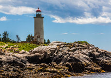 Franklin Island Lighthouse in Tenant& x27;s Harbor, Maine. In the Muscongus Bay, built in 1807 stock image