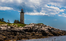 Franklin Island Lighthouse in Tenant& x27;s Harbor, Maine. In the Muscongus Bay, built in 1807, on a beautiful summer day royalty free stock photography