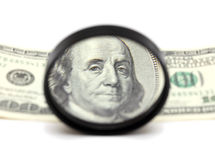 Franklin through magnifying glass Stock Photography