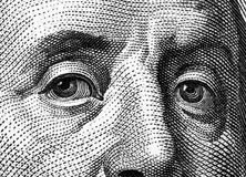 Franklin portrait. Extreme close-up of one hundred bill Franklin portrait stock images