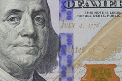 Franklin portrait on banknote. American dollar money Franklin portrait close-up royalty free stock image