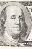 Franklin portrait on one hundred american dollar. Close up stock image
