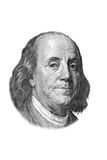 Franklin portrait on one hundred dollars bill. Benjamin Franklin portrait on one hundred US dollars banknote. Isolated on white. Black and white picture vector illustration
