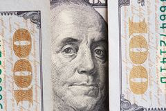 Franklin president portrait on 100 dollar bill. Close up view royalty free stock photos