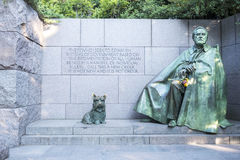 Franklin Roosevelt`s Memorial Monument with Bronze Statues of Franklin Roosevelt and His Beloved Dog Royalty Free Stock Images