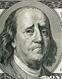 Franklin`s cartoon portrait. Similar to a portrait on one hundred dollar bill obverse stock images