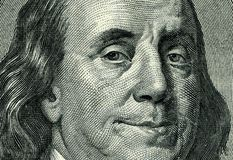 Franklin's smile. High-resolution shoot of of hundred dollar bill Stock Photography