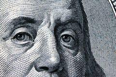 доллары franklin s u детали счетов Стоковое Изображение