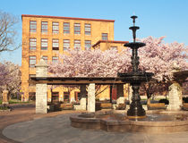 Franklin Square fountain. Franklin Square in Syracuse, New York , May, 2015 Royalty Free Stock Image