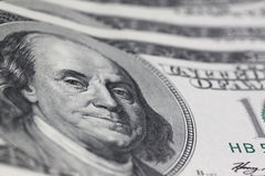Franklin stare. On one hundred dollars banknote stock images