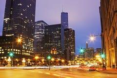 Franklin Street en Walker Drive in Chicago Royalty-vrije Stock Foto