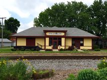 Franklin Train Depot. This is a Summer picture of the train depot in Franklin, Indiana.  This picture was taken on June 29, 2015 Royalty Free Stock Photography