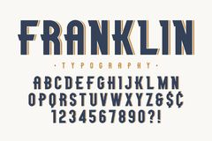 Franklin trendy vintage display font design, alphabet. Typeface, letters and numbers, typography. Vector characters stock illustration