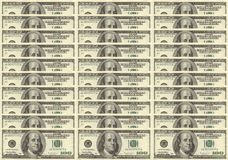 Franklins. Rows Of Franklins or US 100 dollar bills royalty free stock photos