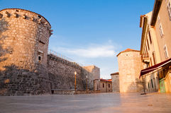 Frankopan fortress tower and walls from square ground level at K Royalty Free Stock Image