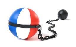 Frankreich band an einem Klotz am Bein Lizenzfreies Stockbild