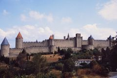 Frankreich: Chateau und Fort Carcassogne in Languedoc-Rousillon stockfoto