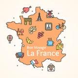 Frankreich-Design-Schablonen-Linie Ikonen-Willkommens-Konzept und Karte Vektor Stockfotografie