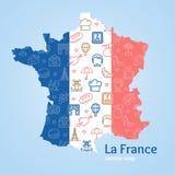 Frankreich-Design-Schablonen-Linie Ikonen-Willkommens-Konzept und Karte Vektor Stockfoto
