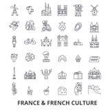 Frankreich, Eiffelturm, Franzosen, Frankreich-Flagge, Europa, Paris, Pariser, Siegeslinie Ikonen Editable Anschläge Flaches Desig vektor abbildung