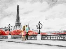 Frankreich-, Eiffelturm- und Paarjungen, Frau stockbilder